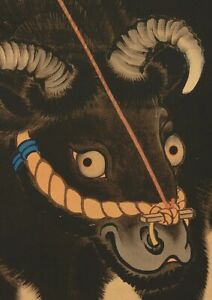 JAPANESE PAINTING Hanging Scroll From JAPAN CHILD COW CATTLE Print e176