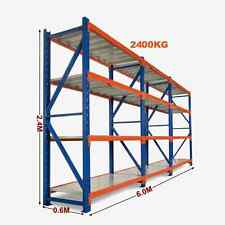 6m Long X 2.4m High Heavy Duty Warehouse Garage Metal Storage Shelving Racking