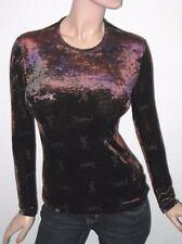 M AUTH Yves Saint Laurent YSL Logo Velvet Sheer Ombre Tie Cye Blouse Top Shirt