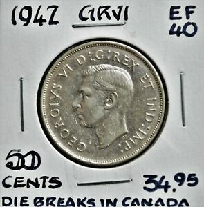 1942 Canada 50 Cents with Die-breaks
