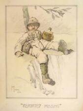 "Caricature GUERRA MONDIALE 1 ""scomparso"" matita JACK kanaway 1916"