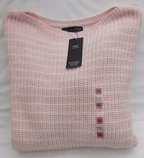 LADIES MARKS AND SPENCER PINK STRIPED SLASH NECK PURE COTTON JUMPER SIZE XL