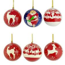 Set of 6 Santa and Reindeer Wooden Christmas Ball Ornaments