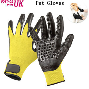Pair Pet Dog Cat Cleaner Grooming Gloves Brush Hair Remover Shedding Massage