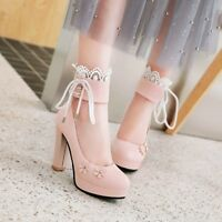 Womens Chunky Block High Heels Platform Pumps Ankle Strap Round Toe Party Shoes