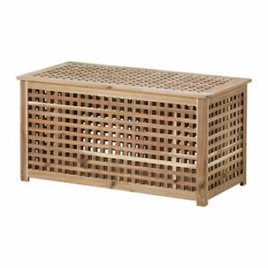 Ikea HOL Storage Table,Acacia,98x50 cm,501.613.21