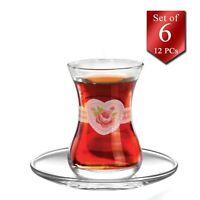 LAV Authentic Turkish Tea Glasses with Saucers 12 Pcs, Teacups Set of 6, 4.75 oz