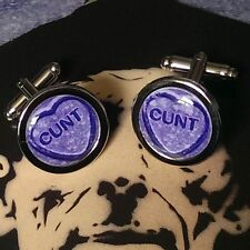 Unique RUDE CUFFLINKS c*nt LOVEHEART purple C WORD gift DAD husband NOVELTY joke