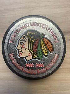 "PORTLAND WINTERHAWKS 2002-03 WHL Hockey Puck ""Hardest Working Team in Portland"""