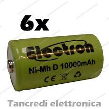 6pz Pila Batteria ricaricabile Ni-Mh NiMh torcia D 1,2V 10000mAh 10Ah torcione