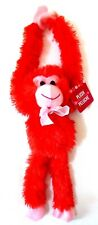 "NEW 12"" Plush Hanging Monkey Stuffed Valentine's Day ~ Red"