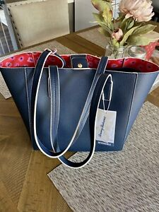 Tommy Bahama Reversible Tote Bag Navy w/ Red Pink Floral, includes Wristlet, NWT