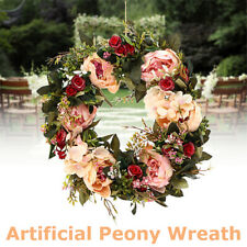 40cm Silk Peony Wreath Flower Ring Door Artificial Hanging Garland Wedding Decor