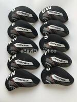 10PCS Golf Iron Covers for Callaway Mavrik Club Headcovers Caps 4-LW Black&Black