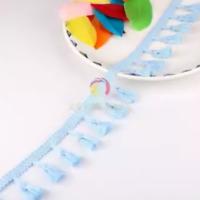 Light Blue 4cm Trim Tassel Fringe Cotton Lace Ribbon Price per 30cm DIY Craft