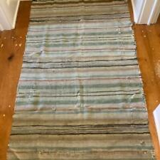 Vintage American Rag Rug Striped Heavy Woven Fabric Primitive Farmhouse AS IS