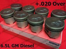 6.5 6.5L Diesel Pistons +.020 1992-02 MAHLE Coated (set of 8) GM Chevy w/ Rings