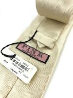 Thomas Pink Mens Neck Tie Ivory Diagonal Stripe Irons Plain 100% Silk Made in UK