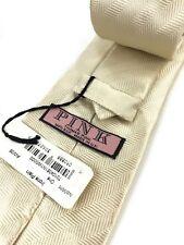 Thomas Pink Neck Tie Ivory Diagonal Stripe Irons Plain 100% Silk Made in UK Mens