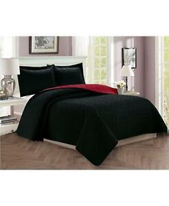 Elegant Comfort Luxury 3 PC Quilted King/California King Coverlet Set Black $135