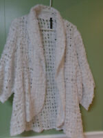 women's open front jacket sweater IC by Connie K (white) XL