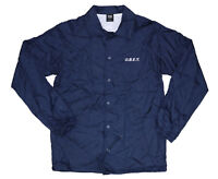 OBEY 100% Nylon Snap Front Coaches Jacket, Medium, Navy NWT $69