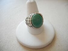 Vintage Sterling Silver Green Stone Ring  Size 10  RE2818