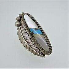 & Mother of Pearl Ring Size 5 Vintage Sterling Silver P. Jamez Navajo Turquoise