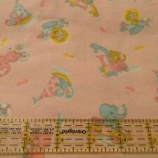 "Baby flannel fabric VTG 37W pink zoo animal lion train pastel remnant 34"" x 37"""