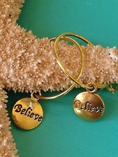 Gold Lever Back Hoops Dangle Believe Earrings. Faith. Love. Religion. Holiday