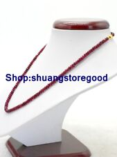 """Beautiful 2x4mm Faceted Red Ruby Abacus Gemstone Beads Necklace 18"""""""