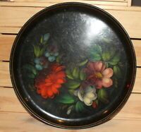 Vintage Russian hand painted floral metal tole platter tray
