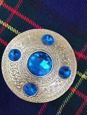 "Scottish Highland Men's Celtic Kilt Fly Plaid Brooch Sky Blue Stones Gold 3.5"""
