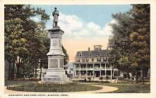 WINSTED, CT ~ CIVIL WAR MONUMENT & HOTEL ~ DANZIGER & BERMAN, PUB. ~ c. 1940s