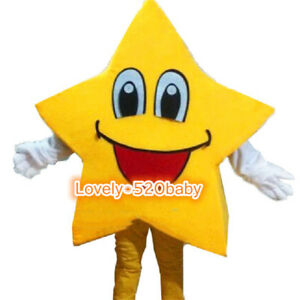 Hot Adversting Yellow Five-Pointed Star Mascot Costume Cartoon Party Dress