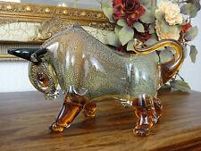 Stier Skulptur Kristall Glas Kunst Büffel Bison Statue Figur Luxus Stil Murano