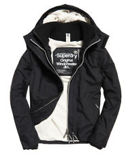 New Mens Superdry Pop Zip Hooded Arctic SD-Windcheater Black/Ecru