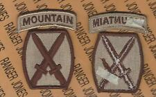 10th Mountain Infantry Division Desert DCU patch tab set m/e
