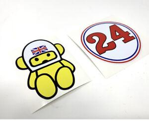 James Hunt 1975 Bell Star Helmet Sticker Kit Hesketh Teddy #24 F1 Car Decals X2