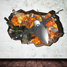 3D ARMY TANK JET PLANE CRACKED BOMB Wall Art sticker Decal Bedroom Graphic Mural