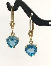 14k Solid Yellow Gold Leverback One Stone Dangle Earrings, Heart Blue Topaz 3TCW