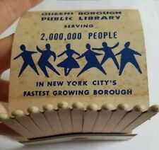 Vintage Queensborough Public Library Matchbook Jamaica Queens New York City NYC