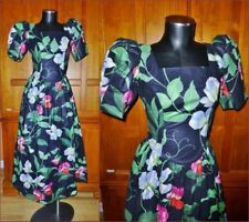 Vtg 80s Polished Cotton Floral Garden Print Country Boho Prom DRESS Gown