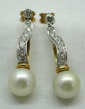 Fabulous Two Colour 18ct Gold Diamond And Large Cultured Pearl Dropper Earrings