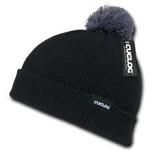 Black & Gray Sailor Watch Skull Pom Knit Ski Winter Beanie Beanies Cap Hat Hats