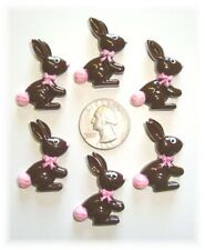 6PC CHOCOLATE EASTER BUNNY BOW FLAT BACK FLATBACK RESIN 4 HAIRBOW BOW CENTER