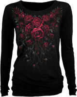 Spiral Direct New Release 'BLOOD ROSE' Long Sleeve Viscose,Gothic Roses/Goth/Top