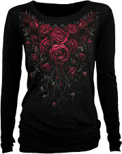 Spiral Direct New Release BLOOD ROSE Long Sleeve Viscose,Gothic Roses/Goth/Top