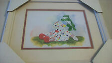 STUFFED CLOWN WITH JUMPING FROG FRAMED & MATTED PRINT by TOSOFE 1989