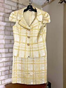 TAHARI Women's Skirt Suit size 6 Jacket & Skirt, Soft Yellow Plaid, Cap Sleeve